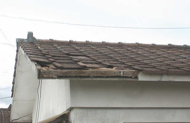 屋根瓦が飛んだ
